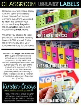 Classroom Library Labels EDITABLE for Bins & Books {Black Series} Classroom
