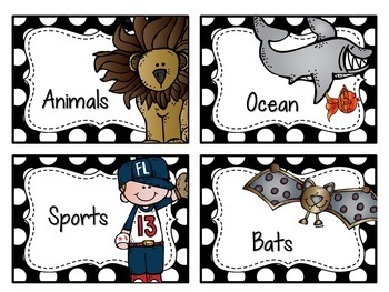 Classroom Library Labels EDITABLE for Bins & Books {Black and White Polka Dot}
