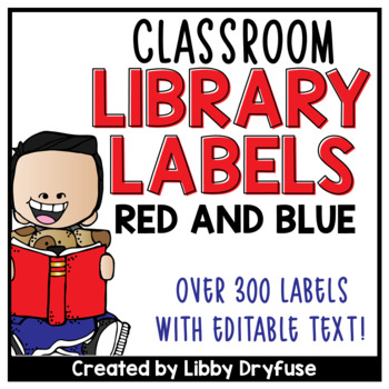 Classroom Library Labels EDITABLE for Bins & Books {Red and Blues}