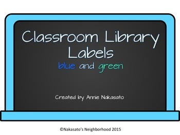 Classroom Library Labels Blue and Green {Editable}