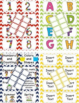 Classroom Library Labels {Editable} - Chevron - red, blue, green, yellow