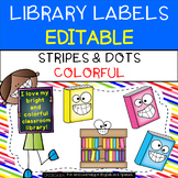 Classroom Library Labels {Editable} - Colorful Stripes and Colorful Dots