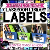 Classroom Library Labels: Editable, Black or White Backgro