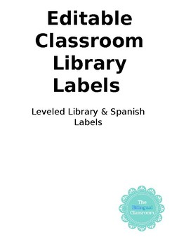 Classroom Library Labels Editable |Spanish Version