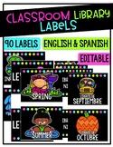 Classroom Library Labels | English& Spanish | Editable