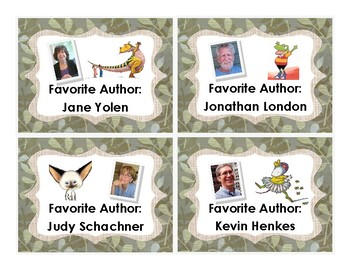 {FREEBIE} Classroom Library Labels (Favorite Authors) - Green Fabric Background