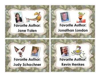 Classroom Library Labels (Favorite Authors) - Green Fabric Background