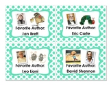 Classroom Library Labels (Favorite Authors) - Teal Polka Dots