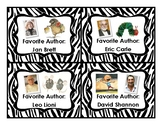 Classroom Library Labels (Favorite Authors) - Zebra Print