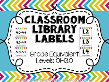Classroom Library Labels {Grade Equivalent Levels}