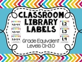Classroom Library Labels {Grade Equivalent Levels}