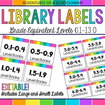 Editable Classroom Library Labels - Grade Equivalent Levels