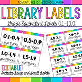 Editable Classroom Library Labels - Grade Equivalent Levels