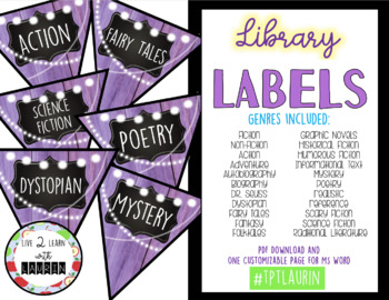 Classroom Library Labels (Includes Editable Page) Purple Banner