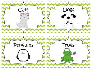 Classroom Library Labels {Lime Green Chevron}