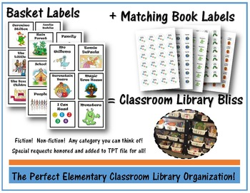Classroom Library Labels & Matching Book Labels - NO MORE misplaced books!