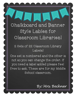 Classroom Library Labels Middle School