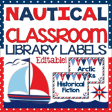 Classroom Library Labels - Nautical Theme {EDITABLE!}
