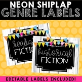 Classroom Library Labels (Neon Shiplap)