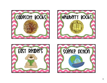 Classroom Library Labels Pink Chevron
