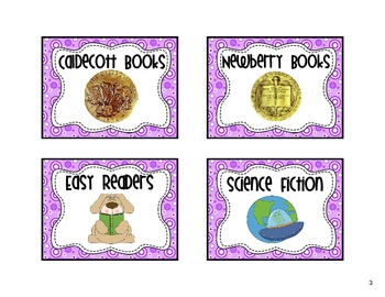 Classroom Library Labels Purple Dots Theme