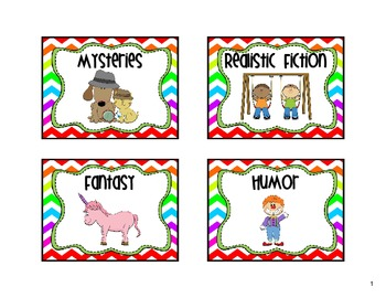 Classroom Library Labels Rainbow Chevron