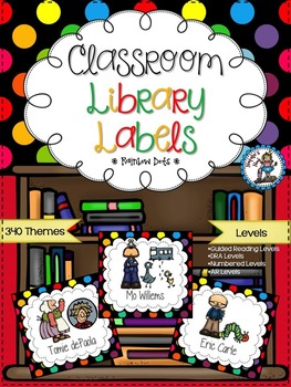 Classroom Library Labels {Rainbow Dots}