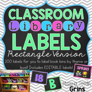 Classroom Library Labels {Rectangle Chalkboard} EDITABLE