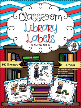 Classroom Library Labels {Red and Blue}