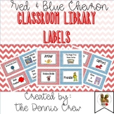 #markdownmonday Classroom Library Labels - Red and Blue Chevron