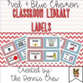 Classroom Library Labels - Red and Blue Chevron
