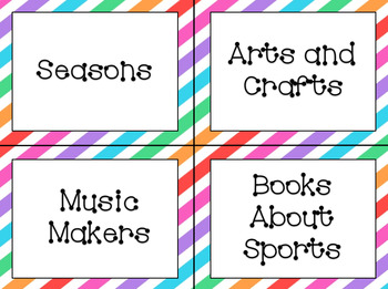 "Classroom Library Labels: ""Stripes"" Design Bundle"