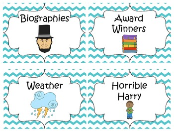 Classroom Library Labels {Teal Chevron}