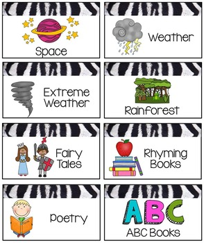 Classroom Library Labels Topics and Themes