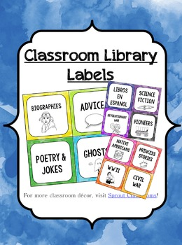 Classroom Library Labels {Watercolor Theme}