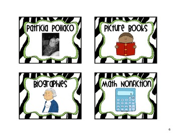 Classroom Library Labels Zebra Lime