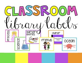 Classroom Library Labels for Bins | Brights