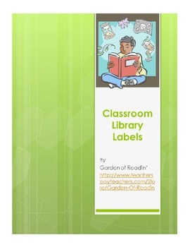 Classroom Library Labels for Genre, Author, and Subject