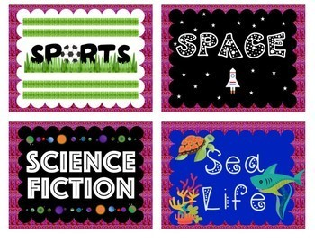 Classroom Library Labels for Middle Grades with Pink Textured Backgrounds