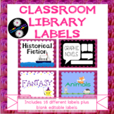 Classroom Library Labels for Middle Grades with Pink Textu