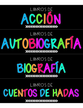 Rainbow Classroom Library Labels in SPANISH