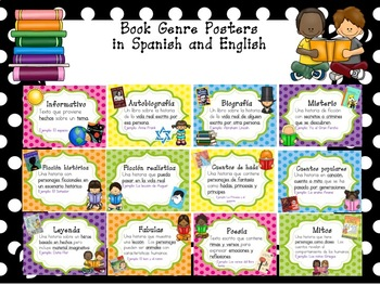 Classroom Library Labels in Spanish and English