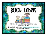 Classroom Library Labels peacock theme