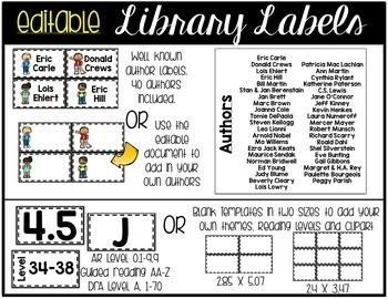 Classroom Library Labels with Matching Book Labels with an Editable Portion