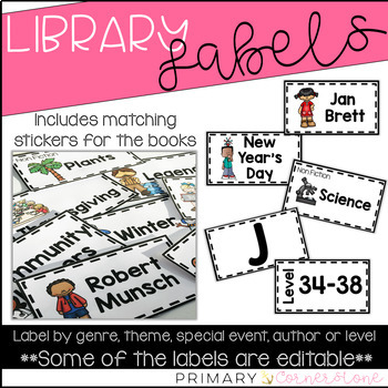 Classroom Library Labels with Matching Book Labels with an