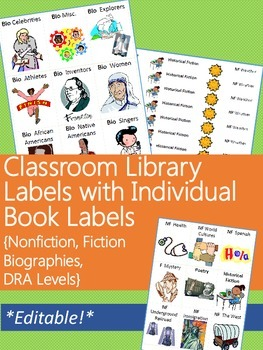 Classroom Library Labels with Individual Book Labels BUNDL