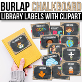 Classroom Library Labels with Pictures EDITABLE Burlap Chalkbord Classroom Decor