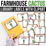 Classroom Library Labels with Pictures - EDITABLE, Cactus Classroom Decor