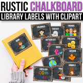 Classroom Library Labels with Pictures - EDITABLE, Chalkboard Farmhouse Decor