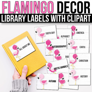 Classroom Library Labels with Pictures - EDITABLE, Flamingo Classroom Decor